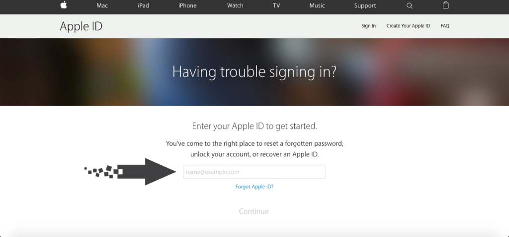 cara reset password apple id